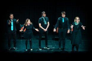 Piotr Mirowski, Sarah Davies, Paul Little, Julie Flower and Marouen Mraihi at the Edinburgh International Improv Festival, 1 March 2020. Credits: Eleanora Briscoe.