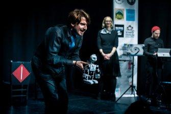 Piotr Mirowski, Sarah Davies and Boyd Branch at the Edinburgh International Improv Festival, 1 March 2020. Credits: Eleanora Briscoe.