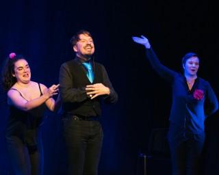Piotr Mirowski, Jenny Elfving and Rhiannon Jenkins at Improfest Sweden Göteborg 2019. Credits: Björn Nilsson.