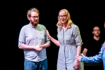 Sarah Davies and Harry Turnbull - Rosetta Code by Improbotics at The Cockpit Theatre, Camden Fringe 2021 - Photo by Lidia Crisafulli
